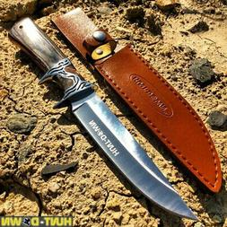 """12"""" Hunt-Down Black/Brown Sporting Knife With Sheath"""