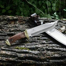 14-inch Bowie Knife, Full-Tang Fixed Blade Wood Handle with