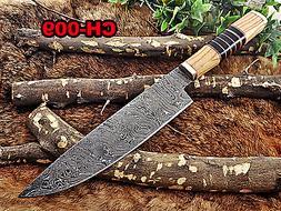 "14 Inches long custom made Damascus steel chef Knife 9"" full"
