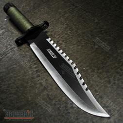 """15"""" Two Tone Blade Rambo Survival Hunting Knife with Surviva"""
