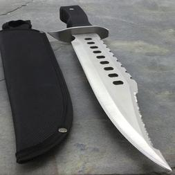 """17"""" LARGE SURVIVAL BOWIE HUNTING KNIFE w/ SHEATH Military Fi"""