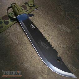 "19.5"" FULL TANG HUNTERS CHOPPING SWORD Sawback Fixed Blade M"