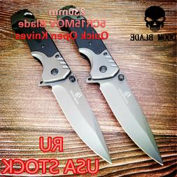 1PCS Quick Open Knifes Folding Knife Pocket Knives Tactical