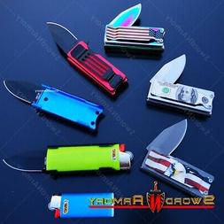 Mini Spring Assisted Knife with Lighter Holder Case and Belt