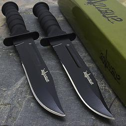 """2 x 7.5"""" MILITARY TACTICAL COMBAT KNIFE w/ SHEATH Survival H"""