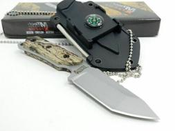 "MTech USA 5.5"" Fixed Blade neck Knife G10 Compass Nylon Shea"