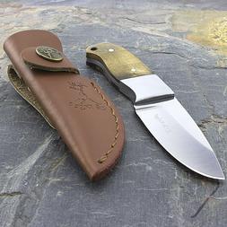 """5"""" ELK RIDGE FIXED BLADE SKINNING KNIFE WOOD HANDLE w/ LEATH"""