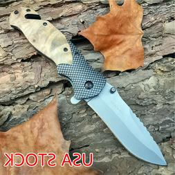 5CR15 X50 Knives Tactical Folding Pocket Knife Titanium Stai