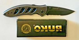 "RUKO 6 3/4"" Shark 2 5/8"" Combo Blade Folding Knife Assisted"