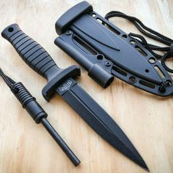 "7"" Double Edge Military Tactical Hunting Dagger Neck Knife +"