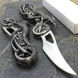 "7"" DRAGON BIKER BLADE DESIGN STAINLESS STEEL TACTICAL FOLDIN"