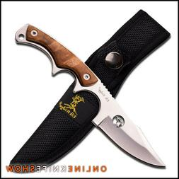 "7"" FULL TANG FIXED BLADE SURVIVAL HUNTING KNIFE Burl Wood Ou"