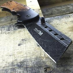 """8.25"""" MTECH USA CLEAVER STYLE WOOD HANDLE SPRING ASSISTED FO"""