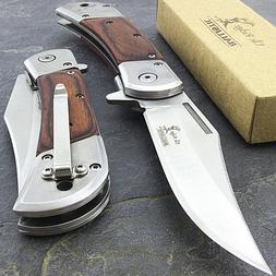 "8.5"" ELK RIDGE WOOD SPRING ASSISTED FOLDING POCKET KNIFE Ope"
