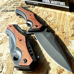 "8.5"" Hunting FOLDING POCKET KNIFE WOOD SPRING ASSISTED OPEN"