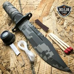"""8.5"""" Military Camo Tactical Fishing Hunting Knife Survival K"""