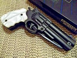 "8.5"" Defender Xtreme  Pearl / Black Spring Assisted Gun Knif"
