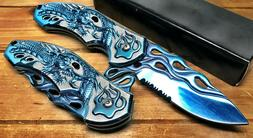 "8"" Pocket Knife Spring Assisted Dragon Ball Fiery Hunting Ta"