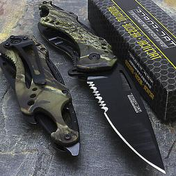 """8"""" TAC FORCE GREEN CAMO SPRING ASSISTED TACTICAL FOLDING POC"""