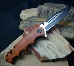"""8"""" TAC FORCE Wood Spring Assisted Sawback Folding Pocket Kni"""