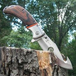 "9"" ELK RIDGE PAKKAWOOD Gut Hook SPRING ASSISTED Hunting Fold"