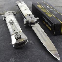 """9"""" STILETTO TAC FORCE MILANO TACTICAL PEARL SPRING ASSISTED"""
