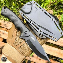 9 fixed black blade tactical hunting knife