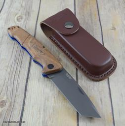 9 INCH WALTHER BWK4 WALNUT HANDLE LINERLOCK FOLDING KNIFE WI