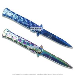 """9"""" Spring Assisted Tactical Milano Folding Knife Titanium Co"""