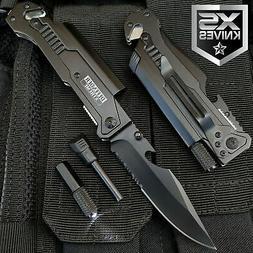 Black EDC Spring Assisted LED Multifunction Pocket Knife Sur