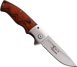 ELK RIDGE Spring Assisted Folding Pocket Knife With Pakkawoo