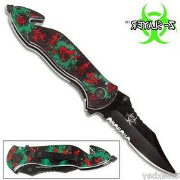 GREEN ZOMBIE KILLER GRIP HANDLE SPRING ASSISTED OPENING POCK