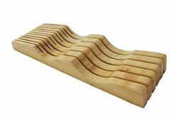 In-Drawer Bamboo Knife Block without Knives. Knife Storage a