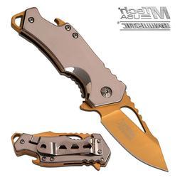"""MTech USA ® 3"""" Gold Titanium Blade, Bottle Opener, Spring A"""