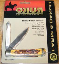 RUKO Delrin Simulated Deer Horn Handle Trapper Folding Knife