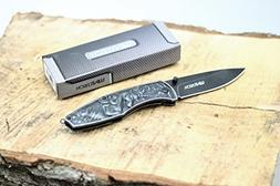 Spring-Assist Folding Pocket Knife Wartech Black Stone Unico