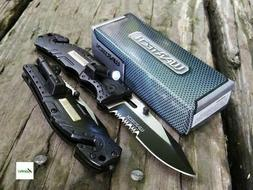 Wartech Black Spring Assisted Pocket Knife w/ LED Light Glas