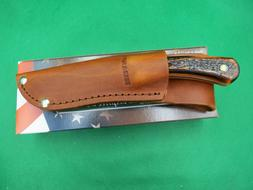Bear & Son Bird and Trout Knife STAG Delrin  With Leather Sh