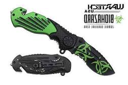 WarTech Biohazard Zombie Assisted Rescue Folder Knife NEW To