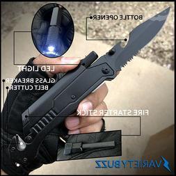 Black EDC Assisted Opening LED Multifunction Pocket Knife Su