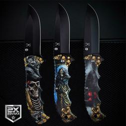 BLACK Fantasy SKULLS n ROSES Grim Reaper Spring Assisted Poc