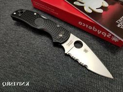Spyderco Black Native 5 Serrated Cpm-S35Vn Steel Folding Kni