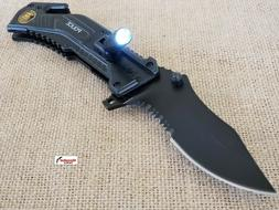 Black Police Spring Assisted Open LED Tactical Rescue Pocket
