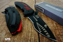 Black Wartech PWT267 Thumb Open Blade Assisted Shark Shape P