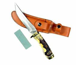 Ruko 5-Inch Blade Hunting Knife with Delrin Deer Horn Handle