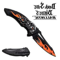 Dark Side Blade Spring Assisted Knife 5 inches With Orange S