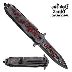Dark Side Blades Assisted Knife With Black and RED Dragon Ha