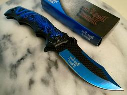 blades assisted open blue dragon pocket knife