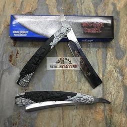 Dark Side Blades Black Grim Reaper Death Straight Razor Mirr