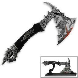 "Brand New 14.5"" Fantasy Dragon Axe Knife Sword Dagger w/ Sta"